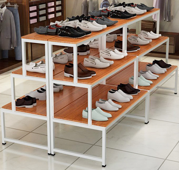 Table Stores: 3 Layer Retail Shoe Display Showcase Table