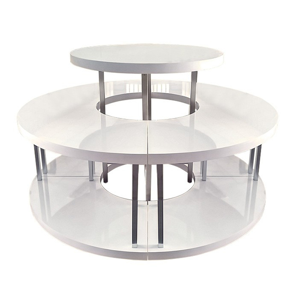 Table Stores: Retail Stores White Round Clothing Display Tables For
