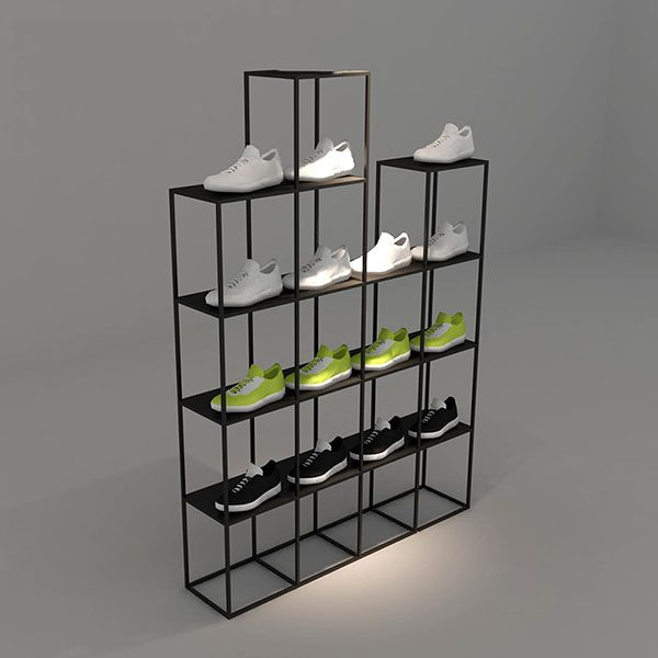 9af853b0b12d Black Sports Shoes Shelf Rack Display Assembling Multi Layer Metal ...