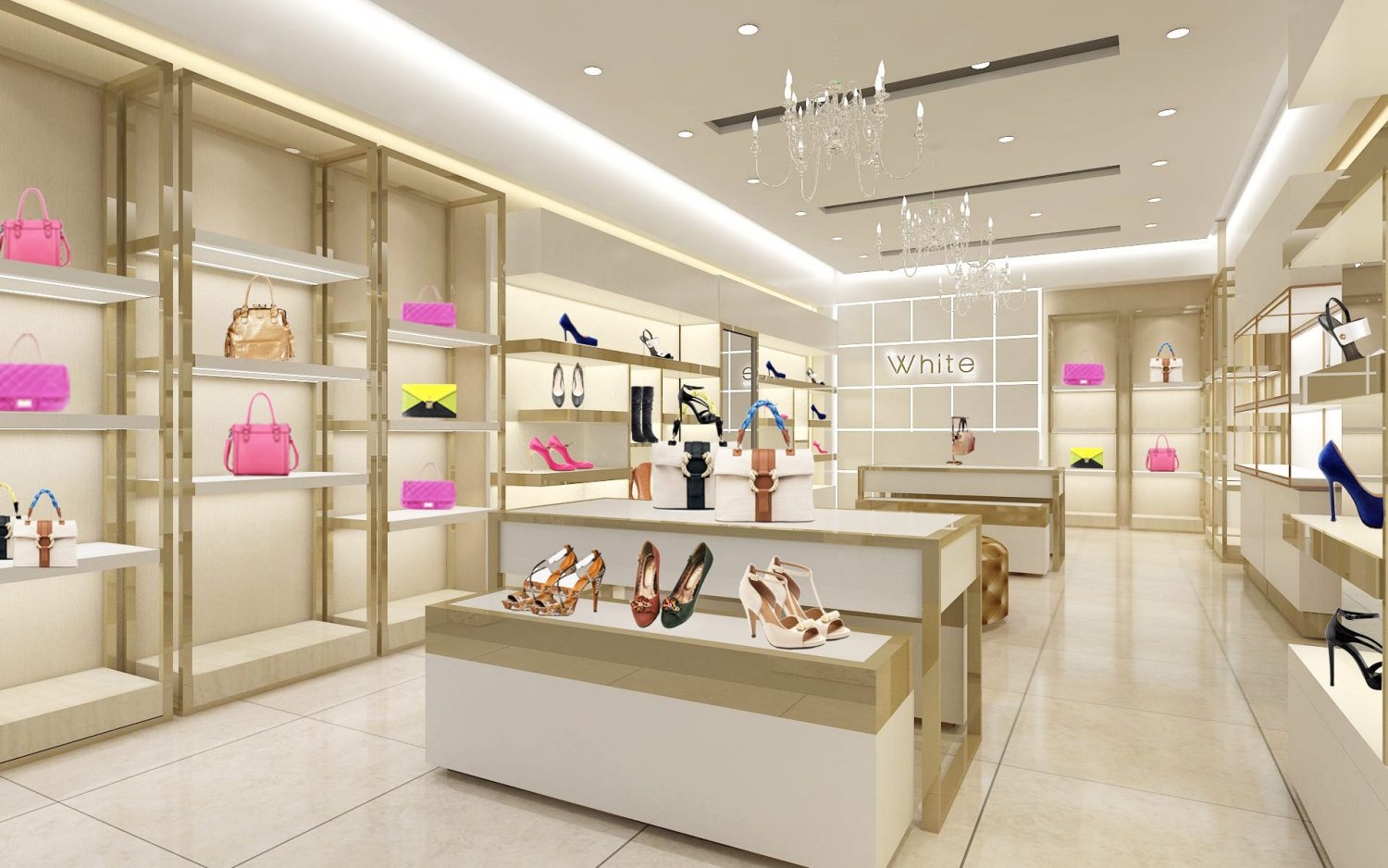 Handbag And Shoe Retail Store Display Furniture Design Decoration
